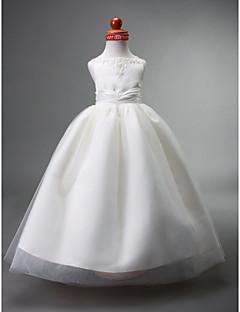 ボールガウンの床の長さフラワーガールのドレス - ビーズ付きのサテンチュールノースリーブストラップlan tingbride®