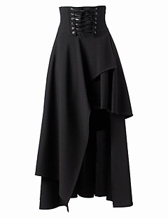 Hameet Gothic Lolita Lolita Cosplay Lolita-mekot Musta Yhtenäinen Keskipitkä Hame varten Puuvilla