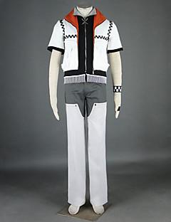 Inspireret af Kongerige  Hjerter Roxas video Spil Cosplay Kostumer Cosplay Kostumer Patchwork Hvid Kort Ærme Jakke Bukser Bælte