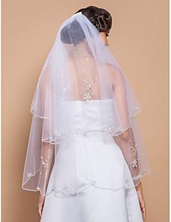 Véus de Noiva Duas Camadas Véu Ponta dos Dedos Borda Enfeitada 27,56 cm (70cm) Tule BrancoLinha-A, Vestido de Baile, Princesa,