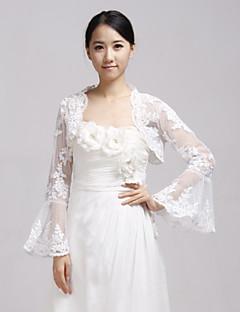 כורכת חתונה מעילים / מעילים שרוול ארוך תחרה לבן חתונה / מסיבה / ערב אשליה פתח חזית