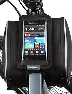 תיק אופניים 1.8Lתיקים למסגרת האופניים טלפון נייד תיק עמיד לאבק מסך מגע תיק אופניים עור PU פוליאסטר פי וי סי תיק אופנייםSamsung Galaxy S4