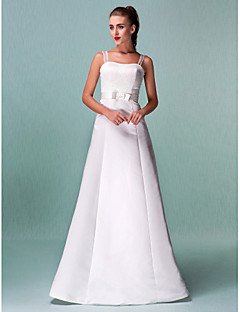 A-Line Straps Floor Length Satin Wedding Dress with Sash / Ribbon by LAN TING BRIDE®