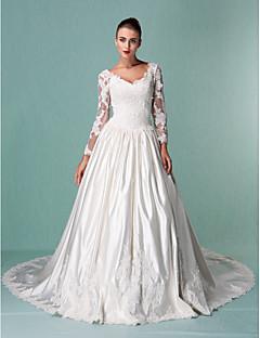 Plesové šaty Do V Super extra dlouhá vlečka Satén Tyl Svatební šaty s Korálky Aplikace podle LAN TING BRIDE®