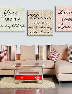 Pânză întinsă Cuvinte Print Art Sweet Love Set de 3
