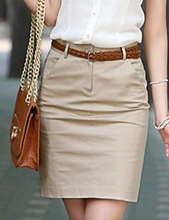 Damen Einfach Arbeit Über dem Knie Röcke Stifte einfarbig Frühling Sommer Herbst