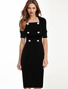 Women's Vintage Black/Red Dress, Square NeckSpandex/Polyester Knee-length Short Sleeve
