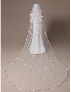 Véus de Noiva Duas Camadas Véu Cotovelo Véu Catedral Borda Lápis Borda Enfeitada 118,11 em (300 centímetros) Tule