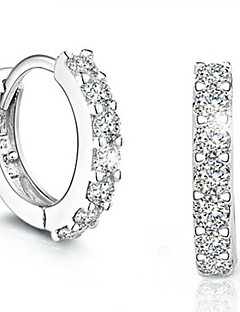 Damen Tropfen-Ohrringe Modisch Simple Style Modeschmuck Sterling Silber Diamantimitate Kreisform Schmuck Für Party Alltag Normal