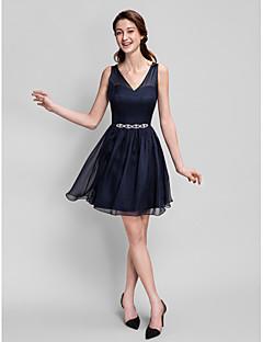 גזרת A צווארון וי קצר \ מיני שיפון שמלה לשושבינה  עם פרטים מקריסטל על ידי LAN TING BRIDE®