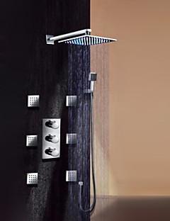 Contemporan Montaj Perete Duș Ploaie Duș De Mână Inclus Împrăștiat Termostatic LED with  Valvă de Alamă Trei Mânere nouă găuri for  Crom,