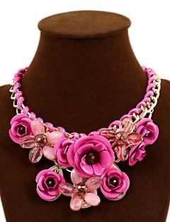 Dame Uttalelse Halskjeder Blomsterformet Rose Edelsten Legering Festival/høytid Europeisk Erklæringssmykker flettet kostyme smykker