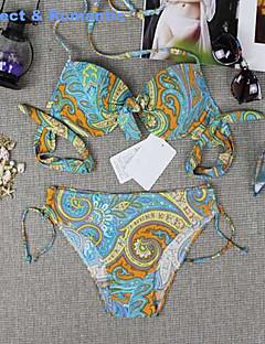 Tankinis Aux femmes Couleur Pleine/Fleur/Bandage Push-up/Soutien-gorge Rembourré/Soutien-gorge à Armatures Licou Polyester