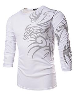 Menn Fritid / Arbeid / Formelt / Sport / Plusstørrelse Trykk T-skjorte,Polyester / Spandex Langermet-Svart / Hvit