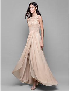 גזרת A בטו צוואר א-סימטרי שיפון תחרה שמלה לשושבינה  עם תחרה בד בהצלבה על ידי LAN TING BRIDE®