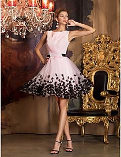 A-ligne de bijoux en manche court / mini chiffon tulle robe de bal avec fleur par ts couture®