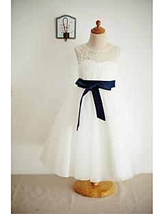 α-γραμμή μήκος τσάι λουλούδι κορίτσι φόρεμα - δαντέλα τούλι αμάνικο λαιμό σέσουλα με κορδέλα από thstylee