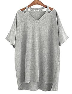 Mulheres Camiseta Casual / Tamanhos Grandes Simples Verão,Sólido Branco / Preto / Cinza Algodão Decote V Manga Curta Média