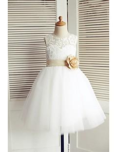 une ligne de genou longueur robe de fille fleur - dentelle tulle sans manches scoop cou avec fleur par thstylee