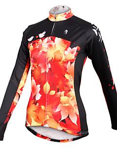ILPALADINO Maillot de Cyclisme Femme Manches Longues Vélo Maillot Hauts/Tops Séchage rapide Respirable 100 % Polyester Feuille Printemps