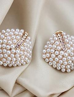 Damen Ohrstecker Ohr-Stulpen Luxus-Schmuck Modeschmuck Perle Krystall Künstliche Perle vergoldet Diamantimitate Geometrische Form Schmuck