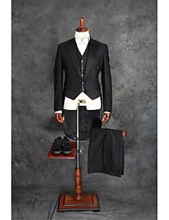 Suits Moderno Notch/ Paletó Transpassado 4 Butões Misto de Algodão Cor Solida 2 Peças Preto Duas Pregas Preto Duas Pregas Botões