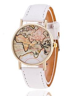 Damen Modeuhr Armband-Uhr Weltkarte Muster Quartz PU Band Weltkarte Muster Schwarz Weiß Braun