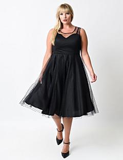 Women's Swing Dress,Polka Dot Round Neck Knee-length Sleeveless Black Polyester All Seasons