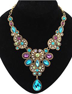 Женский Заявление ожерелья Драгоценный камень Сплав Свисающие Мода Синий Цвет экрана Бижутерия