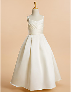 Une ligne de sol longueur robe fille fleur - satin sans manches spaghetti sangles avec ruban by lan ting bride®