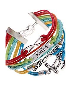 Dame Wrap Armbånd Unikt design Flerlags flettet kostume smykker Læder Legering Kærlighed Anker Smykker Til Fest Daglig Afslappet Julegaver