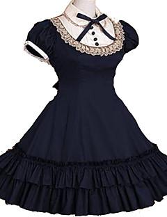 Uma-Peça/Vestidos Lolita Clássica e Tradicional Inspiração Vintage Cosplay Vestidos Lolita Rosa Preto Cinzento Azul Vermelho Vintage