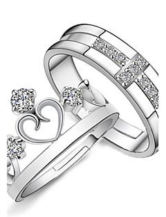 Kadın's Çift Yüzükleri Nişan yüzüğü Aşk Gelin Moda Ayarlanabilir kostüm takısı Som Gümüş Yapay Elmas Heart Shape Cross Shape Mücevher