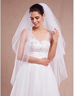 Véus de Noiva Duas Camadas Véu Ruge Véu Ponta dos Dedos Corte da borda Tule Branco Marfim