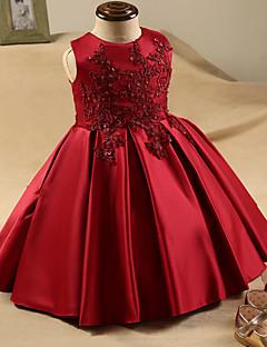Vestido de menina de flor de joelho com uma linha de comprimento - esticar cetim de jóias sem mangas com beading por ydn