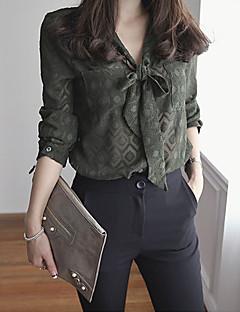 Damen Druck Einfach Arbeit Hemd,V-Ausschnitt Langarm Polyester Dünn