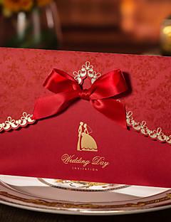 Împăturit în 3 Invitatii de nunta 50-Invitații Invitații pentru Petrecerea de Logodnă Stil Artistic Carton Panglici