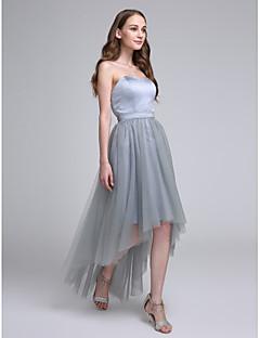 גזרת A לב (סוויטהארט) א-סימטרי סאטן טול שמלה לשושבינה  עם סרט על ידי LAN TING BRIDE®