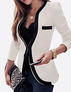 Damen Einfarbig Retro Anspruchsvoll Lässig/Alltäglich Blazer,Rundhalsausschnitt Frühling Herbst Lange Ärmel Standard Kunstseide Polyester