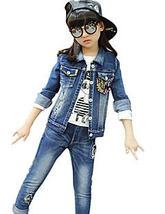 Mädchen Jeans / Kleidungs Set-Lässig/Alltäglich Patchwork Baumwolle Frühling / Herbst Blau