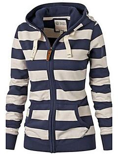 Damen Hoodie-Jacke Lässig/Alltäglich Street Schick Gestreift Mikro-elastisch Baumwolle Langarm Herbst Winter