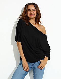 Tee-shirt Femme,Couleur Pleine Décontracté / Quotidien simple Eté Manches Courtes Bateau Polyester Moyen