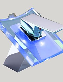 Moderní Baterie na střed Vodopád with  Keramický ventil S jedním otvorem Single Handle jeden otvor for  Pochromovaný , Koupelna