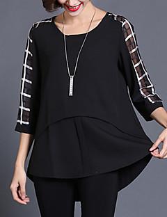 여성의 체크 라운드 넥 ¾ 소매 블라우스,플러스 사이즈 / 스트리트 쉬크 캐쥬얼/데일리 블랙 실크 / 폴리에스테르 여름 얇음
