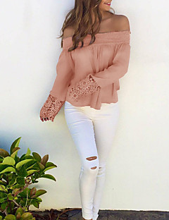 Women's Off The Shoulder Going out / Casual/Daily Sexy / Cute Fall / Winter T-shirt,Solid Boat Neck Long Sleeve Pink Polyester