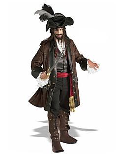Cosplay Kostumer Festkostume Maskerade Pirat Film Cosplay Brun Frakke Trøje Bukser Bælte Hat Halloween Jul Karneval Nytår Mand