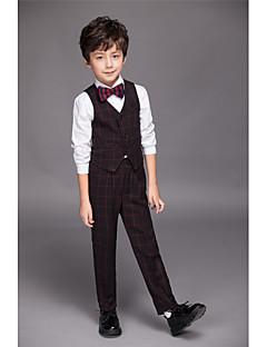 Полиэфир / Серж / Комбинирование ткани (полиэфир/хлопчатник) Детский праздничный костюм - 4 Куски Включает в себяРубашка / Жилет / Брюки