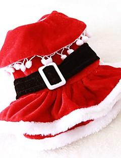 Kediler Köpekler Kostümler Elbiseler Köpek Giyimi Kış İlkbahar/Kış Solid Sevimli Cosplay Noel Kırmzı