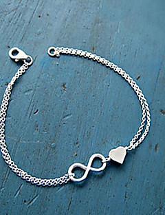 Női Lánc & láncszem karkötők Elbűvölő karkötők Alap Egyedi Szerelem Szív Divat Ötvözet Heart Shape végtelenség Ékszerek Kompatibilitás