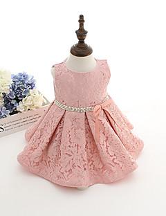 Baby Party/Cocktail Dress Ensfarget Bomull Sommer Rosa / Hvit